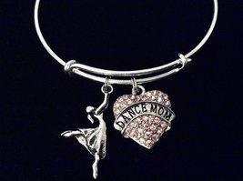 Pink Crystal Heart Dance Mom Jewelry Expandable Charm Bracelet Adjustable Silver - $25.99