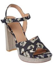 $275 Pour La Victoire Yasmin Platform Sandals 7 Denim Leopard Shoes Sued... - €141,10 EUR