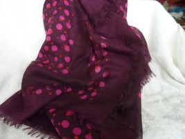 Vera Bradley soft Fringe Scarf /wrap in a burgundy w/ pink and red pattern - $29.00