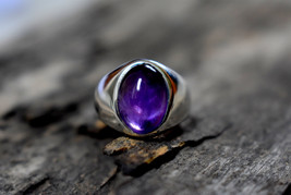 925 Sterling Silver Natural Fine Quality Amethyst Gemstone Handmade Men's Ring image 1