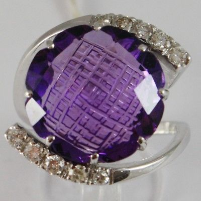 WHITE GOLD RING 750 18K, WITH AMETHYST CUT CUSHION CT 11.5, DIAMONDS CT 0.38