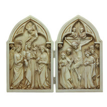 8 Inch Crucifixion Diptych Hand Painted Resin Table Top Statue - $35.63