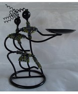 Tribal Metal Wire Sculpture Art Figurines Seed Bead Wrapped Candle Coins... - $27.99