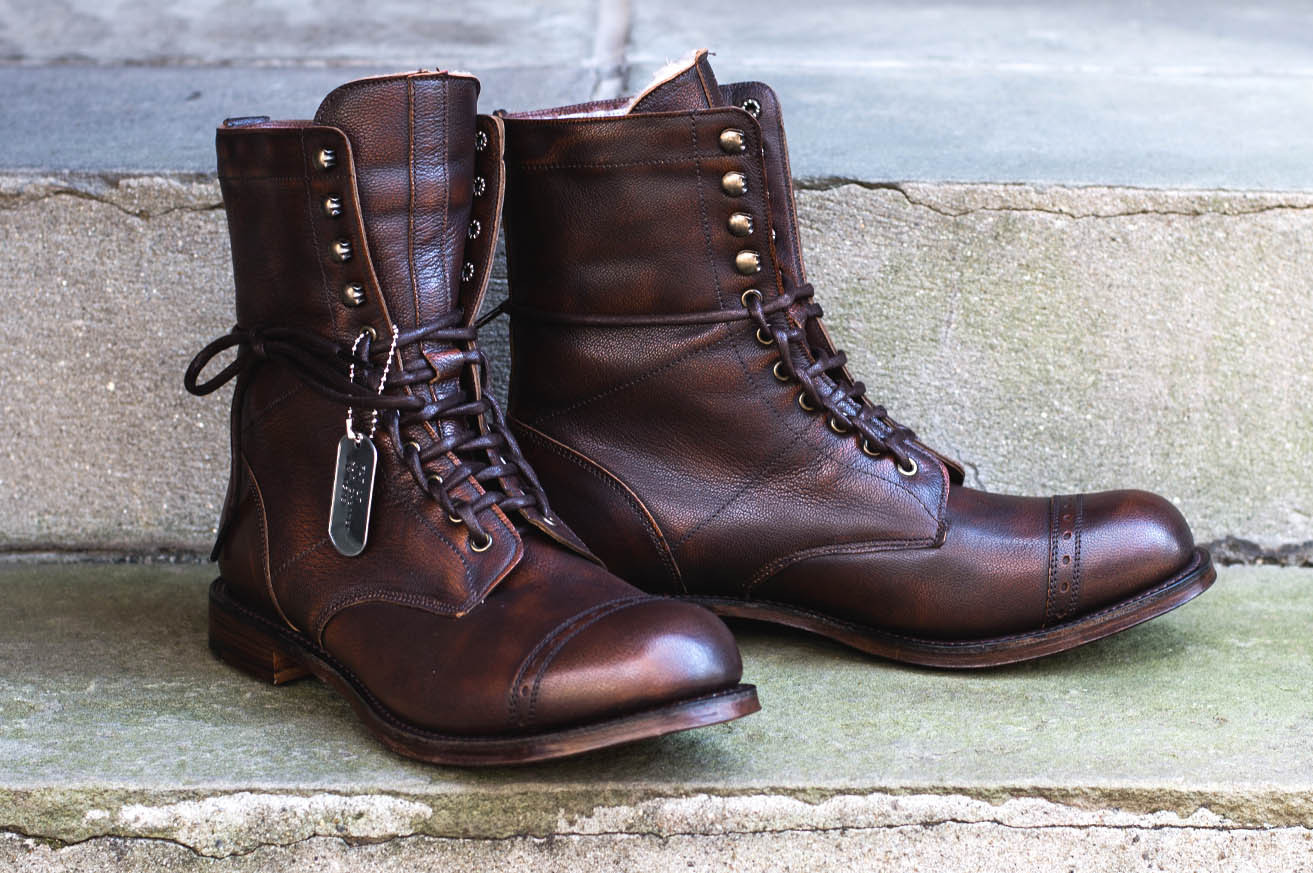 af71b002ad52 ... cap toe unique lace up hand stitched leather boots men wear1. 1 of 4