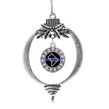 Inspired Silver District of Columbia Thin Blue Line Circle Holiday Christmas Tre - $14.69