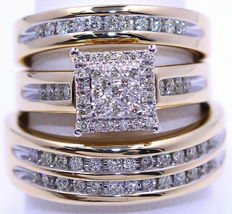Round Cut Diamond Squar Wedding Yellow Gold Over Trio Band Engagement Ri... - $162.99
