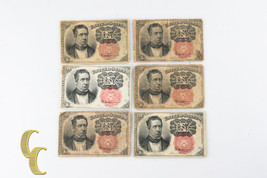 1874 US 10c Fractional Currency Lot of 6 Ten Cents Fr#1265 & 1266 - $138.60