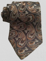 "KAI LONG Mens Tie Gray Orange Paisley Handmade 100% Silk 58"" L X 3.75"" W... - $21.99"