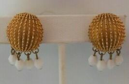 Crown Trifari Signed Gold-tone W/White Glass Bead Dangle Clip On Earrings - $35.00