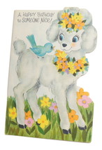 Vintage Poodle Birthday Greeting Card American Greetings Die Cut Unused - $5.95