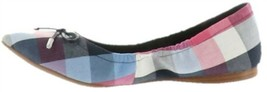 Isaac Mizrahi Plaid Ballet Flats Bow Blue Multi 9.5M NEW A307581 - $67.30