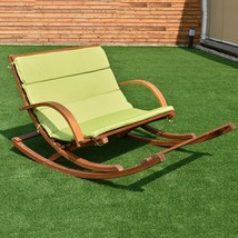 Outdoor 2 Persons Rocking Wooden Lounge Chair With Cushion - $225.15