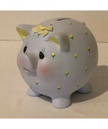 Enesco Piggy Bank Ceramic With Rubber Stopper Vintage 1985 Flowers Baby ... - $21.99