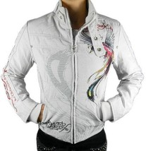 NEW ED HARDY CHRISTIAN AUDIGIER WOMEN'S PREMIUM JACKET PANTHER TAUPE SIZE XS