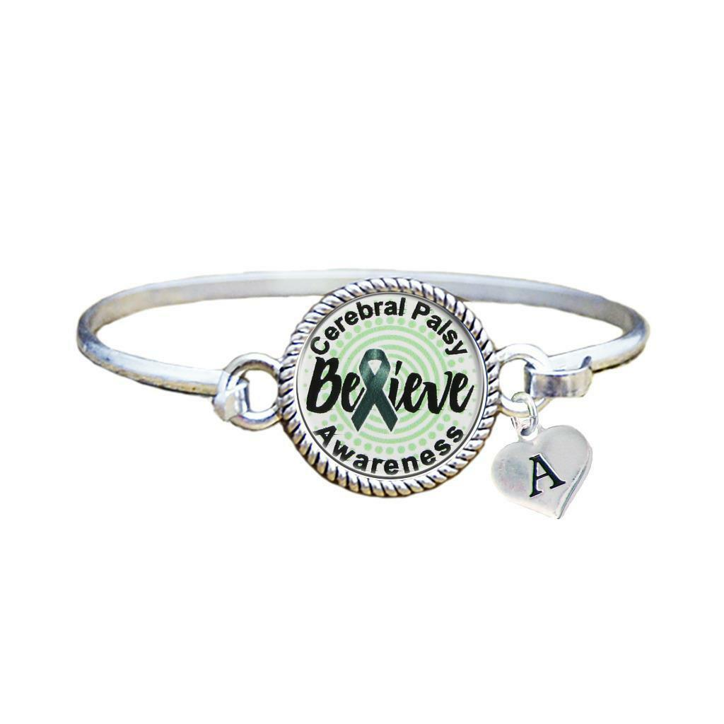 Primary image for Custom Cerebral Palsy Awareness Believe Silver Bracelet Jewelry Choose Initial
