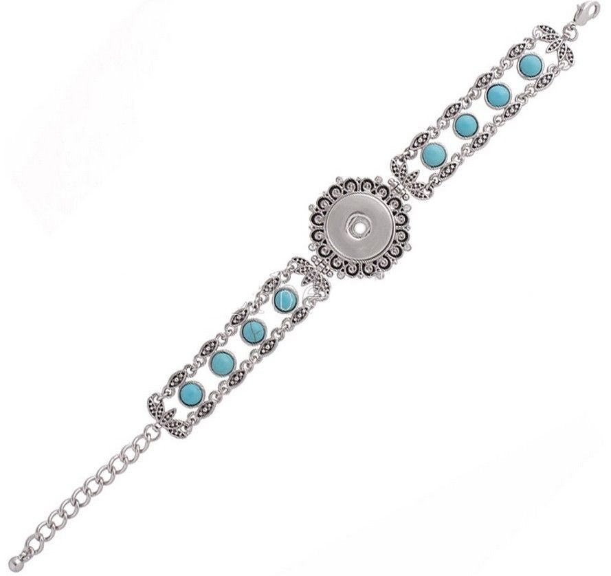 Silver Turquoise Beaded 18-20mm Snap Charm Bracelet For Ginger Snaps Jewelry