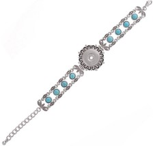 Silver Turquoise Beaded 18-20mm Snap Charm Bracelet For Ginger Snaps Jew... - $16.88