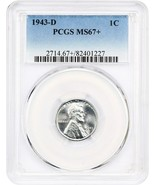 1943-D 1c PCGS MS67+ WW2 Steel Cent - Lincoln Cent - WW2 Steel Cent - $480.15