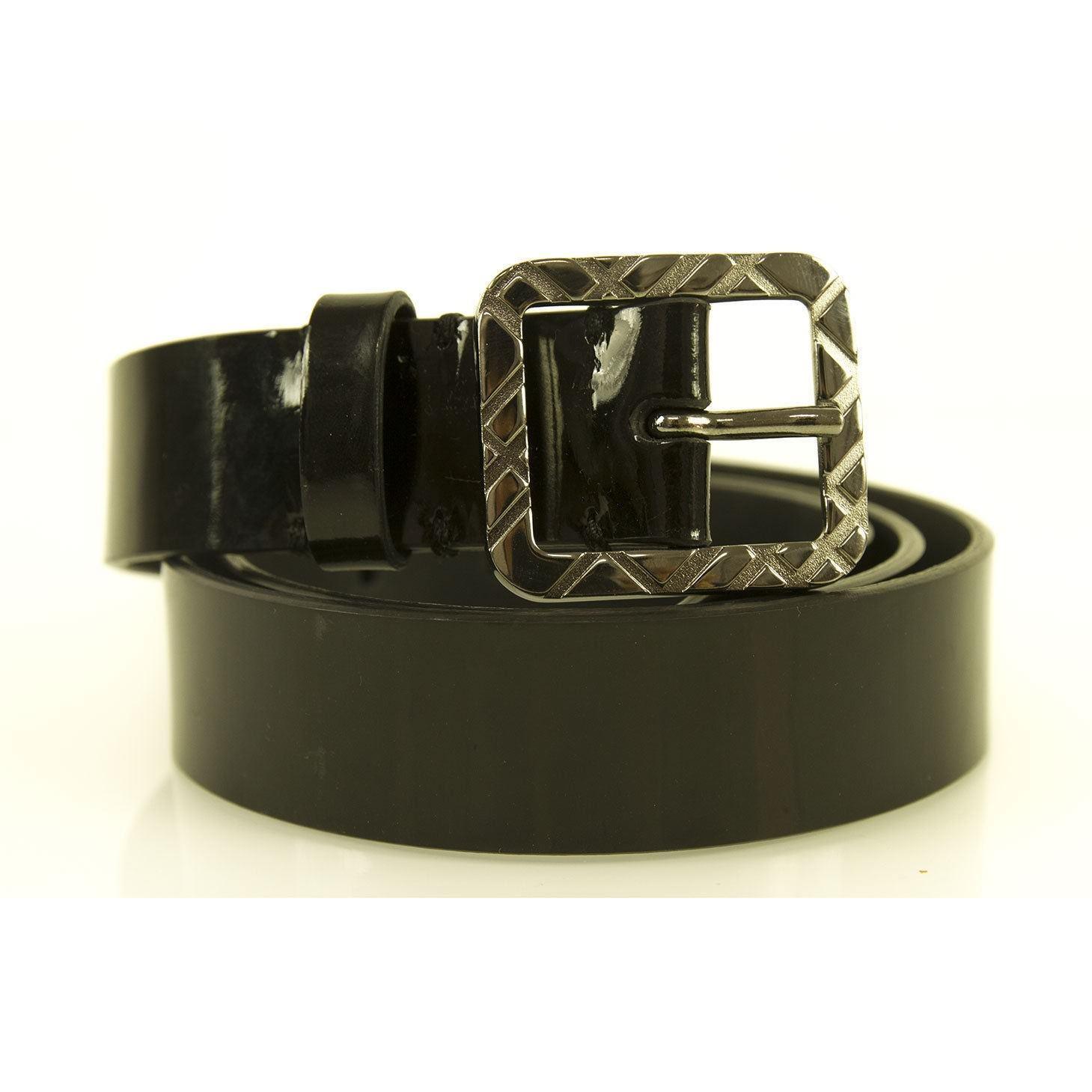 Burberry Women's Black Patent Leather Square Buckle Nova Check Belt sz 36 / 90 - $153.45
