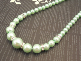 Fancy and Classic, One Strand Embossing Look Mint Green Glass Pearl Neck... - $35.00
