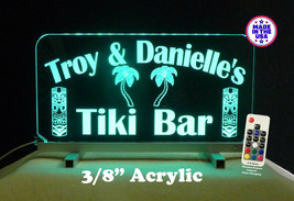 Personalized Tiki Bar Sign, Man Cave Sign, Gift for her, Color Changing - $96.03+
