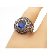 925 Sterling Silver - Vintage Blue Topaz St. Frances Class Ring Sz 8 - R... - $52.17