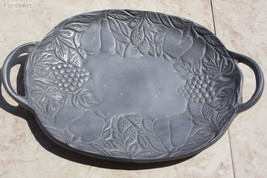 "Vintage Pewter Serving Tray Handled Fruit Dish Decorated Collectible 15"" - $29.69"