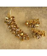Huge dangle rhinestone Demi Parure - Vintage statement Brooch - clip on ... - $130.00