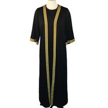 Vtg Berkshire B-Tween Black Gold Lurex Stripe Hostess Dress Jacket 1 pc ... - $58.41