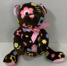 Ganz brown Floral Cutie Teddy Bear Plush multi-color flowers pink bow - $1.97