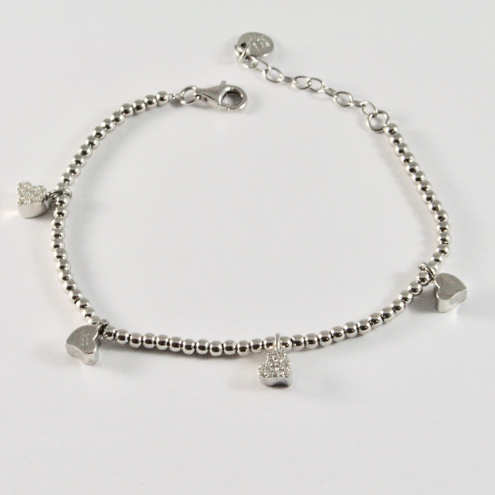 SILVER 925 BRACELET JACK&CO BEAD WITH CHARMS HEARTS WITH ZIRCONS JCB0786