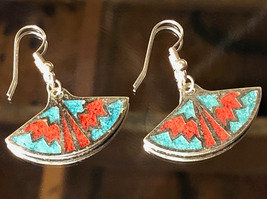 VTG 80s/90s Fashion Faux Turquoise/Coral Inlay Aztec Southwestern Style ... - $13.30