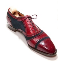 Handmade Men's Maroon Leather Blue Suede Heart Medallion Lace Up Oxford Shoes image 1