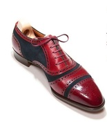 Handmade Men's Maroon Leather Blue Suede Heart Medallion Lace Up Oxford ... - $125.99+