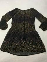 Jessica Simpson M Medium Black Floral Sheer Overlay Tassle Dress Boho 3/... - $19.99