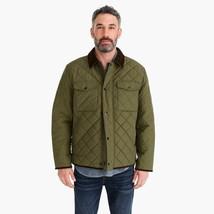 NWT $195 Mens J Crew Sussex Quilted Jacket in Loden Green Corduroy Accen... - $137.61