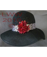 Gothic Black Ladies Floppy Straw Sun Hat With Filigree Flower - $19.99