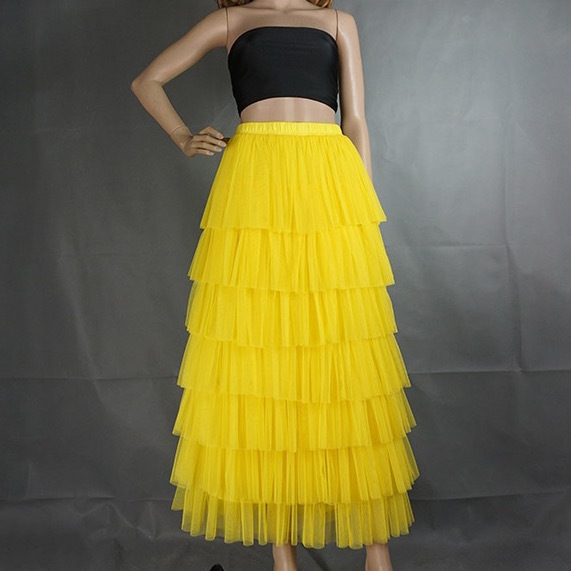 YELLOW Tiered Tulle Skirt Women High Waisted Layered Yellow Wedding Party Skirt