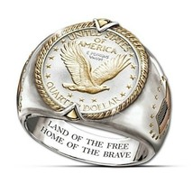 925 Silver & 14K Gold Two Color Ring Men'S Hip Hop American Eagle Symbol... - $25.99