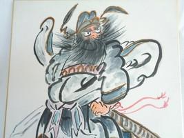 2718 Painting on a Shikishi board,Japanese Shoki Demon watercolor/ink pa... - $49.99