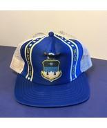 VINTAGE MILITARY USAF AIR FORCE VETERAN TRUCKER HAT CAP HQSQ ACADEMY BLU... - $19.75