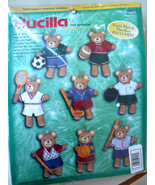 "Bucilla ""Sports Bears"" Teddy Bear Felt Ornament Kit #84075 New!!! - $42.09"
