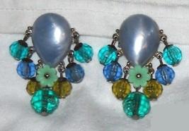Vintage Blue / Green Dangling Earrings - $9.00