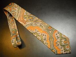 Joseph Abboud Neck TieSilk Designs in Hues of Browns Orange Green Made in Italy  - $11.99