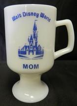 Vintage Walt Disney World Mom White Milk Glass Blue Goblet Pedestal Footed Mug - $27.13