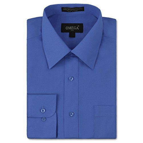 vkwear Omega Italy Men's Long Sleeve Dress Shirt Solid Color Regular Fit 25 Colo