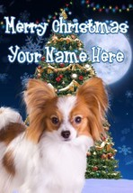 Papillon Dog Merry Christmas Personalised Greeting Card Xmas codeTM190 - $3.89