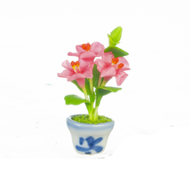 DOLLHOUSE MINIATURES PINK ORCHIDS IN POT #G6919 - $8.50