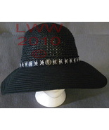 Gothic Black Ladies Floppy Straw Sun Hat Skull & Crossbones - $19.99