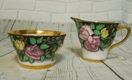 Vintage ROSINA England Bone China Creamer Sugar Black Gold Trim Rose Flo... - $37.09